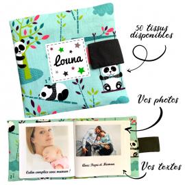 Livre photo tissu personnalisé Panda Menthe, album photo tissu pour bébé, livre doudou