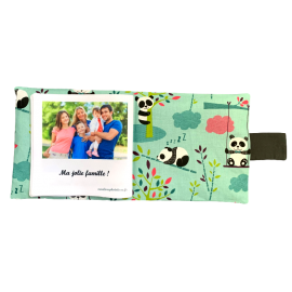 Livre photo tissu personnalisé Panda Menthe, album photo tissu pour bébé, livre doudou *******