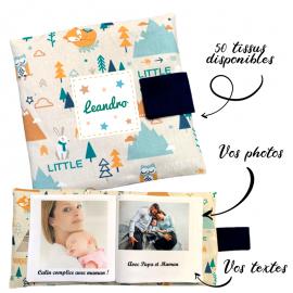 Livre photo tissu personnalisé Renard Aventures, album photo tissu pour bébé, livre doudou