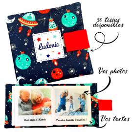 Livre photo tissu personnalisé Espace Galaxie, album photo tissu pour bébé, livre doudou