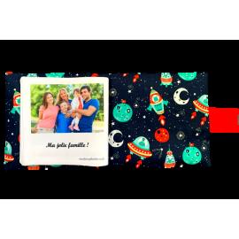 Livre photo tissu personnalisé Espace Galaxie, album photo tissu pour bébé, livre doudou *******