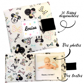 Livre photo tissu personnalisé Disney Minnie, album photo tissu pour bébé, livre doudou