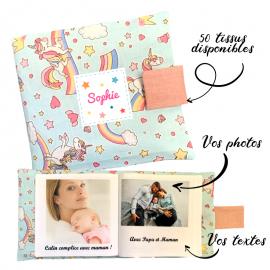 Livre photo tissu personnalisé Baby Licornes Bleu, album photo tissu pour bébé, livre doudou