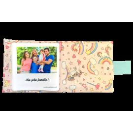Livre photo tissu personnalisé Baby Licornes Rose, album photo tissu pour bébé, livre doudou *******