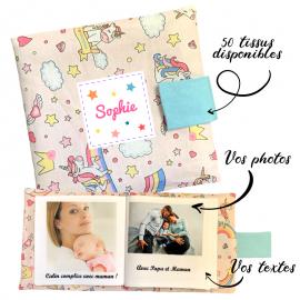 Livre photo tissu personnalisé Baby Licornes Rose, album photo tissu pour bébé, livre doudou