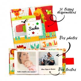 Livre photo tissu personnalisé Jungle, album photo tissu pour bébé, livre doudou