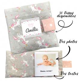 Livre photo tissu personnalisé Licornes Gris, album photo tissu pour bébé, livre doudou