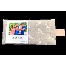 Livre photo tissu personnalisé Licornes Gris, album photo tissu pour bébé, livre doudou *******