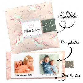 Livre photo tissu personnalisé Licornes Rose, album photo tissu pour bébé, livre doudou