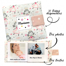 Livre photo tissu personnalisé Princesse danseuse, album photo tissu pour bébé, livre doudou
