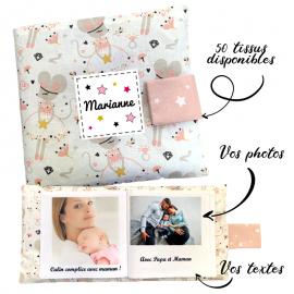 Livre photo tissu personnalisé Petite Souris, album photo tissu pour bébé, livre doudou