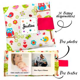 Livre photo tissu personnalisé Hiboux Rose, album photo tissu pour bébé, livre doudou