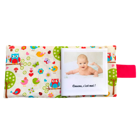 Livre photo tissu personnalisé Hiboux Rose, album photo tissu pour bébé, livre doudou *******