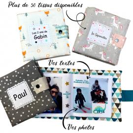 Livre photo tissu personnalisé Hiboux Bleu, album photo tissu pour bébé, livre doudou *******