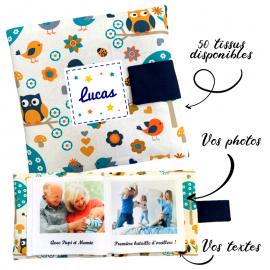 Livre photo tissu personnalisé Hiboux Bleu, album photo tissu pour bébé, livre doudou