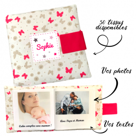 Livre photo tissu personnalisé Papillons, album photo tissu pour bébé, livre doudou