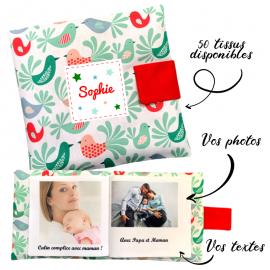 Livre photo tissu personnalisé Oiseaux Mint, album photo tissu pour bébé, livre doudou