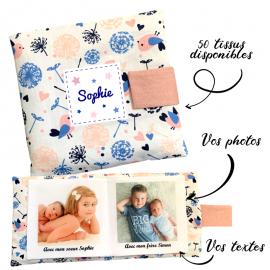 Livre photo tissu personnalisé Oiseaux Bleu, album photo tissu pour bébé, livre doudou