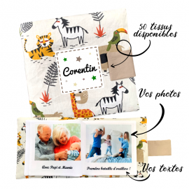 Livre photo tissu personnalisé Animaux de la Savane, album photo tissu pour bébé, livre doudou