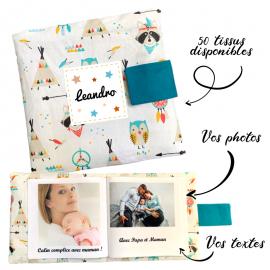 Livre photo tissu personnalisé Chouette et Tipi Boho, album photo tissu pour bébé, livre doudou
