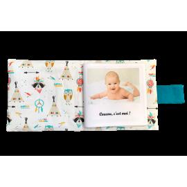 Livre photo tissu personnalisé Chouette et Tipi Boho, album photo tissu pour bébé, livre doudou *******
