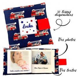 Livre photo tissu personnalisé Pompiers, album photo tissu pour bébé, livre doudou