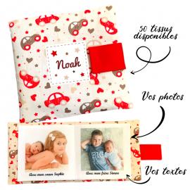 Livre photo tissu personnalisé Voitures, album photo tissu pour bébé, livre doudou