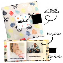 Livre photo tissu personnalisé Disney Mickey, album photo tissu pour bébé, livre doudou