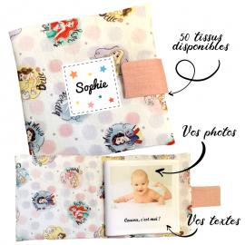 Livre photo tissu personnalisé Disney Princesses, album photo tissu pour bébé, livre doudou