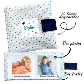 Livre photo tissu personnalisé Mini triangles, album photo tissu pour bébé, livre doudou