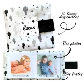 Livre photo tissu personnalisé Cactus, album photo tissu pour bébé, livre doudou