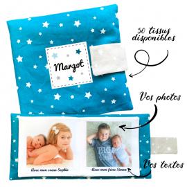 Livre photo tissu personnalisé Etoiles uni Pétrole, album photo tissu pour bébé, livre doudou
