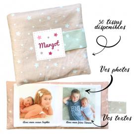 Livre photo tissu personnalisé Etoiles Uni Vieux Rose, album photo tissu pour bébé, livre doudou