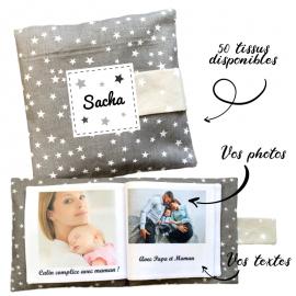 Livre photo tissu personnalisé Etoiles Uni Gris, album photo tissu pour bébé, livre doudou
