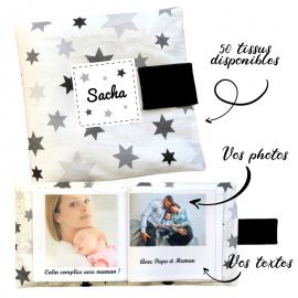 Livre photo tissu personnalisé Etoiles Gris et Blanc, album photo tissu pour bébé, livre doudou