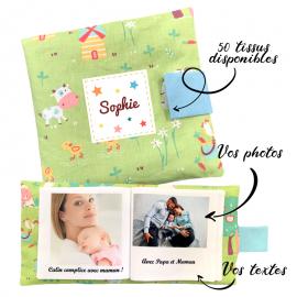 Livre photo tissu personnalisé Animaux de la Ferme, album photo tissu pour bébé, livre doudou
