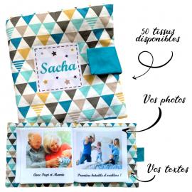 Livre photo tissu personnalisé Triangles Pétrole, album photo tissu pour bébé, livre doudou