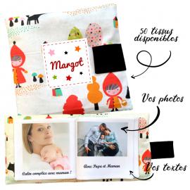 Livre photo tissu personnalisé La Forêt Enchantée, album photo tissu pour bébé, livre doudou