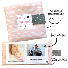 Livre photo tissu personnalisé Nuages Rose, album photo tissu pour bébé, livre doudou