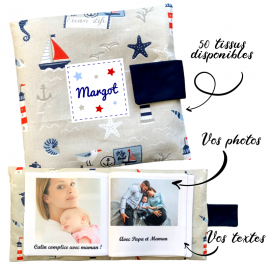 Livre photo tissu personnalisé Maritime, album photo tissu pour bébé, livre doudou