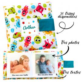 Livre photo tissu personnalisé Petits Monstres, album photo tissu pour bébé, livre doudou