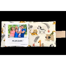 Livre photo tissu personnalisé Animaux de la Savane, album photo tissu pour bébé, livre doudou *******