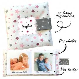Livre photo tissu personnalisé Etoiles Gris et Rose, album photo tissu pour bébé, livre doudou