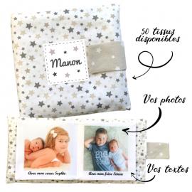 Livre photo tissu personnalisé panache étoilé beige, album photo tissu pour bébé, livre doudou
