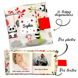Livre photo tissu personnalisé Panda Gris, album photo tissu pour bébé, livre doudou
