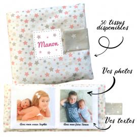 Livre photo tissu personnalisé panache étoilé rose, album photo tissu pour bébé, livre doudou