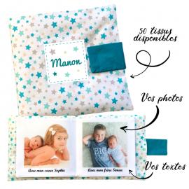 Livre photo tissu personnalisé panache étoilé pétrole, album photo tissu pour bébé, livre doudou