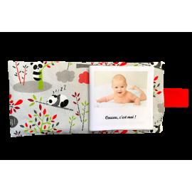 Livre photo tissu personnalisé Panda Gris, album photo tissu pour bébé, livre doudou *******