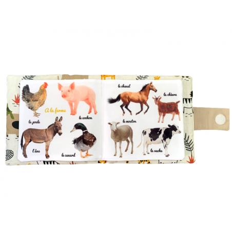 """Mon imagier doudou """"Les Animaux"""", Livre photo tissu imagier, animaux de la ferme"""