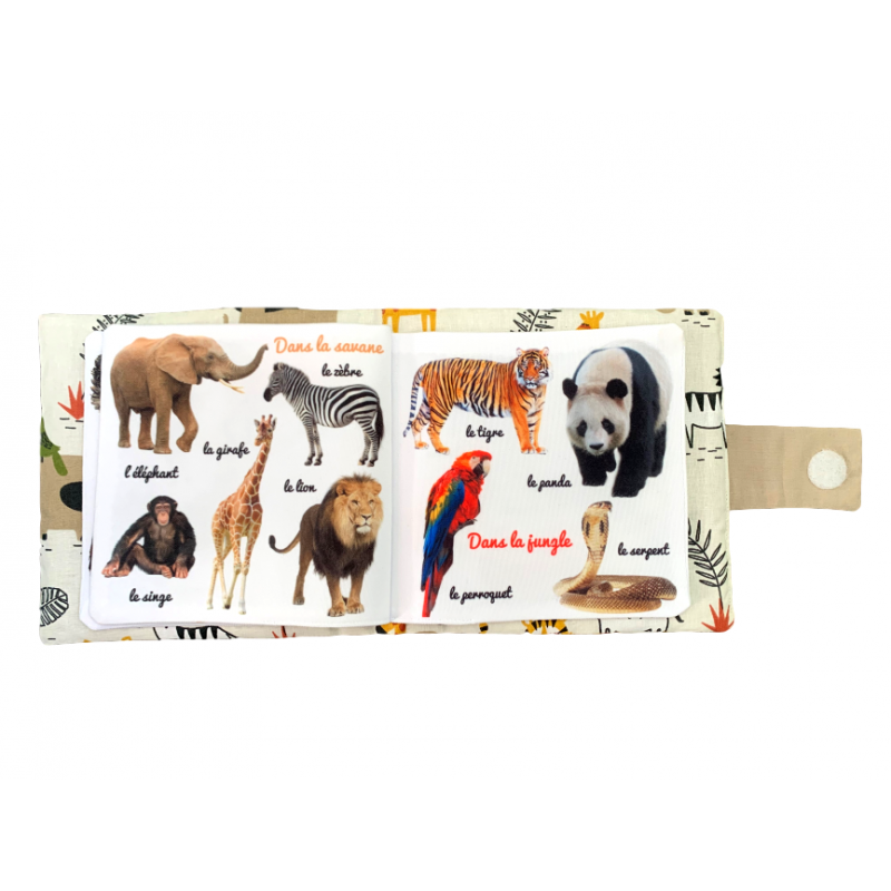 """Mon imagier doudou """"Les Animaux"""", Livre photo tissu imagier, animaux savane, jungle"""